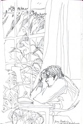 Bud Reading at the Ahwahnee, Illustration 42 in the book Sketchbook (Honeymoon)