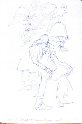 Man in Pith Helmet at Masson Winery Concert, Illustration 43 in the book Sketchbook (Honeymoon)