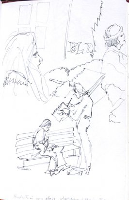 Students in My Class Sketching in Union Square, Illustration 53 in the book Sketchbook (Honeymoon)