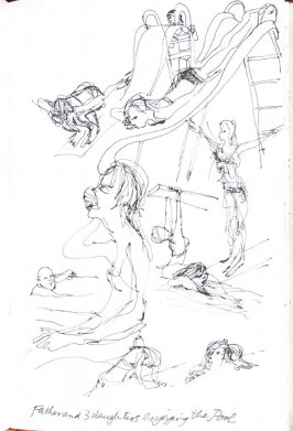 Father and Three Daughters Enjoying the Pool, Illustration 60 in the book Sketchbook (Honeymoon)