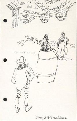 Stars, Stripes and Clowns, Illustration 3 in the book Sketchbook (National Finals Rodeo)