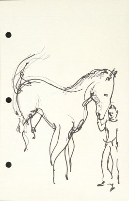 Untitled (Man with horse), Illustration 29 in the book Sketchbook (National Finals Rodeo)