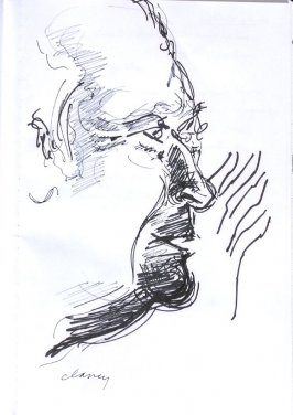 Untitled (man whispering), Illustration 3 in the book Sketchbook (Western Film Conference)