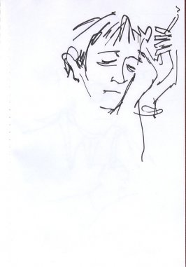 Untitled (Man smoking), Illustration 42 in the book Sketchbook (Western Film Conference