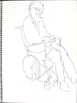 Untitled (Man in wheelchair), Illustration 24 in the book Sketchbook (Pacific Medical Center Clinic, I)