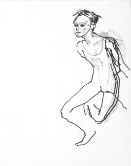 Untitled (Mime wearing mask), Illustration 18 in the book Sketchbook (Conservatory of Mime)