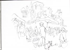Untitled (Market scene), Illustration 1 in the book Sketchbook (Trouville, III)