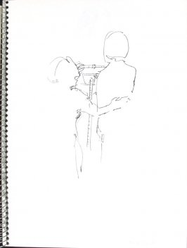 Weighing-In, Illustration 37 in the book Sketchbook (Pacific Medical Center Clinic, I)