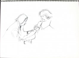 Dr. Rabkin and Patient, Illustration 47 in the book Sketchbook (Pacific Medical Center Clinic, I)