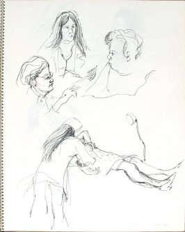 Dr. Rabkin and Mary Lee, Illustration 24 in the book Sketchbook (Pacific Medical Center Clinic, II)