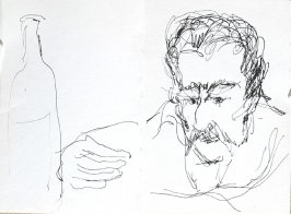 Untitled (Man with wine bottle), Illustration 8 in the book Journal (Strasbourg and Venice)