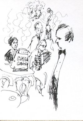 Untitled (Waiter and musicians), Illustration 14 in the book Journal (Strasbourg and Venice)