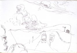 Untitled (Bud driving with landscape), Illustration 28 in the book Sketchbook (Cheyenne, Wyoming)