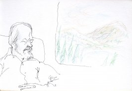 Untitled (Bud on a train), Illustration 30 in the book Sketchbook (Cheyenne, Wyoming)