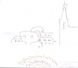 From Window of La Fonda, Santa Fe, Illustration 5 in the book November 1980: Ten Days in the Southwest (sketchbook)