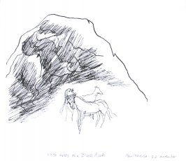 White Horses on a Black Rock, Illustration 9 in the book November 1980: Ten Days in the Southwest (sketchbook)