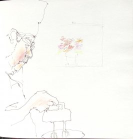 Untitled (Josephine Araldo with flowers), Illustration 12 in the book Sketchbook (St. Helena)