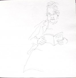Untitled (Josephine Araldo reading), Illustration 13 in the book Sketchbook (St. Helena)