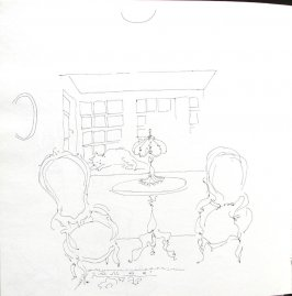 Untitled (Interior with cat), Illustration 55 in the book Sketchbook (St. Helena)