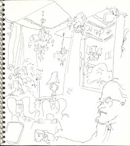 Untitled (Bud drinking tea), Illustration 4 in the book Sketchbook (Europe and United States)