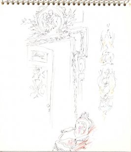 Untitled (Doorway with chair), Illustration 12 in the book Sketchbook (Sylvia)