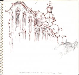 Eglise Saint-Rémy and Chateau, Dieppe, Illustration 3 in the book Sketchbook (Train Bleu)