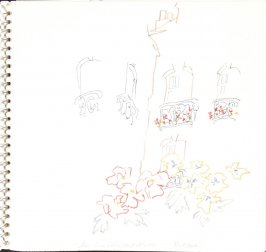 Seen from L'Hibiscus Hotel, Dieppe, Illustration 7 in the book Sketchbook (Train Bleu)