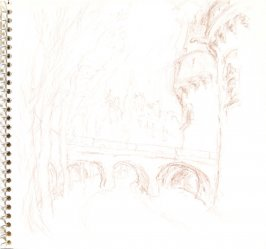 Untitled (Moat with bridge), Illustration 16 in the book Sketchbook (Train Bleu)