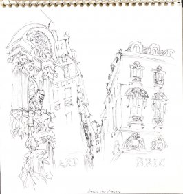 Facing Rue Moliere, Illustration 25 in the book Sketchbook (Train Bleu)