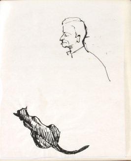 Untitled (Man's head and cat), Illustration 32 in the book Sketchbook (Life drawing class)