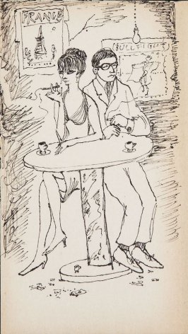 Untitled (Couple in a cafe), Illustration 8 in the book Sketchbook (MFK Fisher)