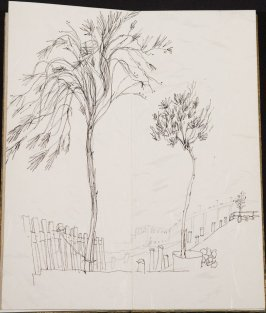 Untitled (Trees with freeway), Illustration 13 in the book Blanche's Pier (sketchbook)