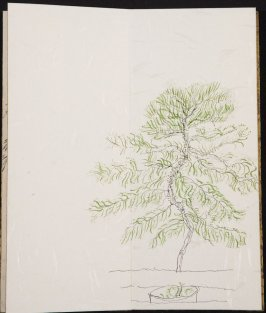 Untitled (Tree behind a railing), Illustration 14 in the book Blanche's Pier (sketchbook)
