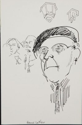 Illustration 7 (Henri LeNoir [see spelling in 2004.13.42.1-12]) in the book Wolo's Banquet in North Beach (sketchbook)