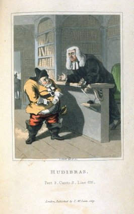 Illustration for Part 3, Canto 3, Line 675, sixth plate in volume 2 of the book Hudibrasby Samuel Butler (London: Thomas McLean, 1819)