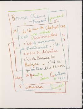 """Manuscrit"" by Jean Cocteau, pg. 149, in the book Souvenirs et portraits d'artistes (Reminiscences and Portraits of Artists) by Fernand Mourlot (Paris: Alain c. Mazo, 1972 and in New York: Léon Amiel, 1972)."