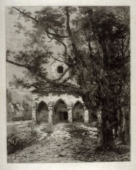 Chapel in landscape with trees to the right (Besancon)