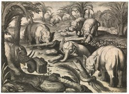 Elephants Helping Each Other from a Trap, no. 8 from series of Hunts and Animal Scenes