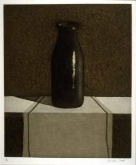 Untitled [Lead bottle on table]