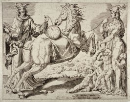 Horse with a Globe upon his Back, with Charity, pl.2 from a set of four Allegories of the Unbridled World
