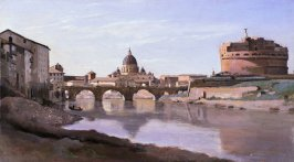 View of Rome: The Bridge and Castel Sant'Angelo with the Cupola of St. Peters