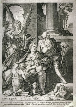 Holy Family with playing and singing angels