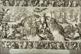 Scenes from the Life of Moses, after Domenico Beccafumi's 16th c. intarsia pavement for the Siena Cathedral