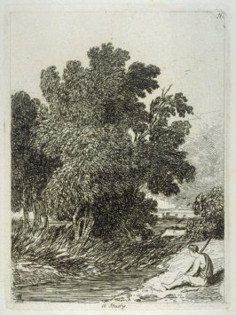 A Study (Landscape with man seated on a riverbank), plate 16 from Liber Studiorum