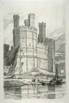 Caernarfon Castle, plate 28 from Liber Studiorum