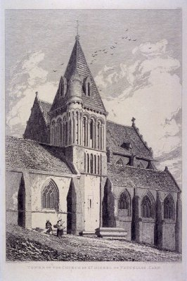 Tower of The Church of St. Michel de Vaucelles, Caen, from the series 'Architectural Antiquities of Normandy'