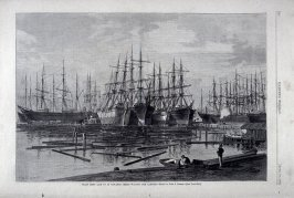 Grain Ships laid up in Gowanus Creek Waiting for Cargoes - from Harper's Weekly,  (April 10, 1880), p. 228