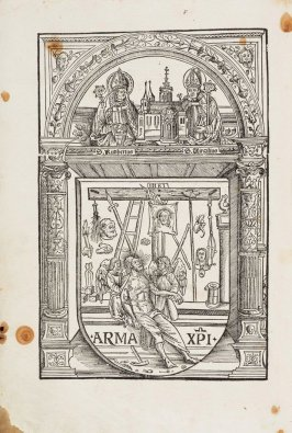 Untitled, title page, plate 1 in the book Missale Salisburgensis (Mass Book for the Diocese of Salzburg) Vienna: Johann Winterburger, 1506 Woodcut illustrations by Lucas Cranach the Elder and Anonymous, German (active early 16th century)