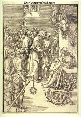 Christ Before Caiaphas, from The Passion; as published in Antonius Corvinus, Die Passion Christi... (Wittenberg: Georg Rhau, 1538)
