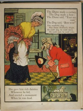 Seventh illustration, on page 8, of Old Mother Hubbard in the book The Marquis of Carabas' Picture Book by Walter Crane/printed in colours by Edmund Evans (London: George Routledge and Sons, n.d. [ca. 1875])